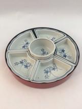 Vtg Japan Oriental 5 pcs Porcelain Divided Tray Sushi Server Red White Blue - $20.53