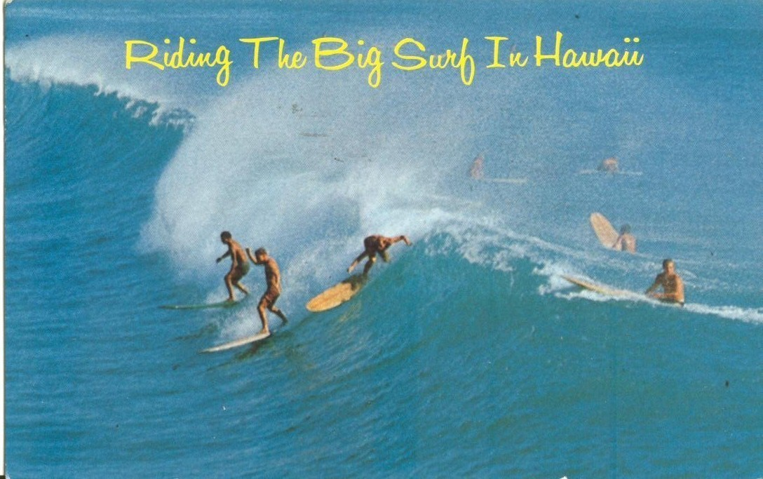 Riding The Big Surf in Hawaii, 1967 used Postcard
