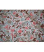 Vintage 1970s Geometric Type Print Seafoam, Peach Tan 51 x 45 - $7.99