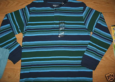 Boys Basic Editions Thermal  Blue Stripes Colorful Long Sleeve SHIRT 14/16 NEW