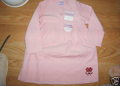 Steve and Barrys Toddler Girl Corduroy Pink Dress embroidered red flower 3T  NEW