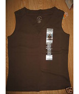 Ladies White Stag Ultra Soft V Neck Tank Top Shirt 4/6 Small Coffee Brow... - $6.99