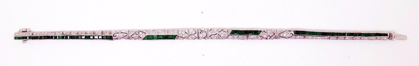 18K Gold Art Deco Style Genuine Natural Emerald and Diamond Bracelet (#3323)