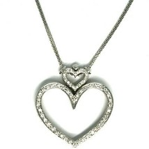 SOLID 18K WHITE GOLD NECKLACE, DOUBLE BIG HEART DIAMONDS, DIAMOND MADE IN ITALY image 2