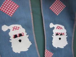 CALICO GINGHAM CLOTH FELT SANTA CLAUS UGLY CHRISTMAS STOCKING Lot of 2 V... - $15.20