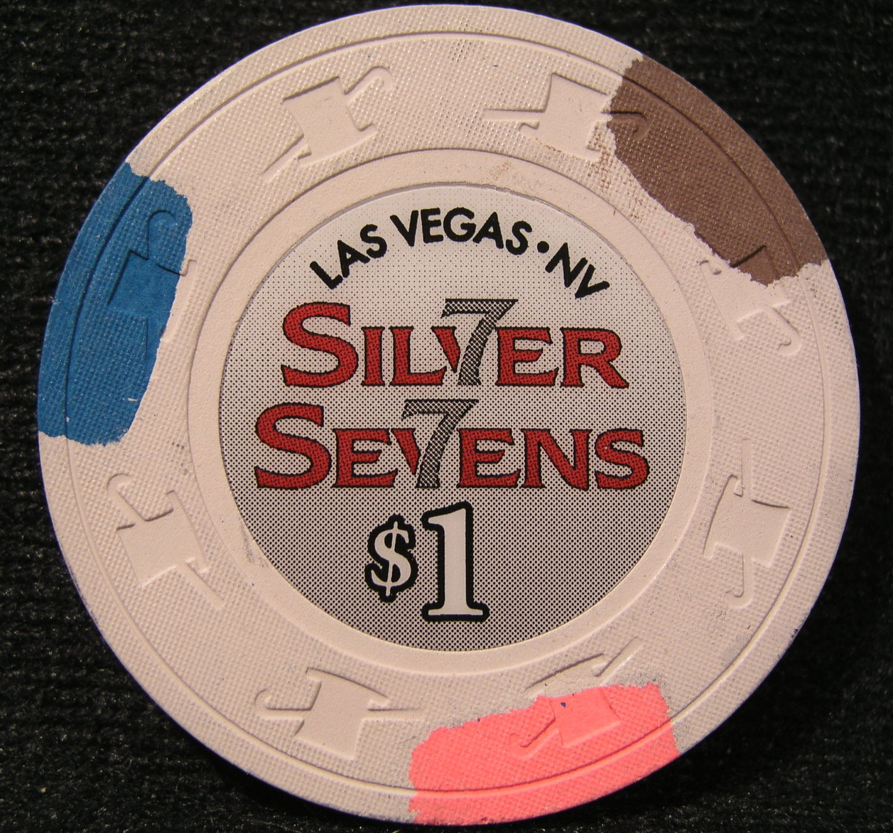 "Primary image for $1.00 Casino Chip From: ""Silver Sevens Hotel & Casino""- (sku#2372)"