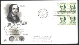 Albert Gallatin 1 1/4 cents first day cover block of 4 Art Craft cachet - $1.99