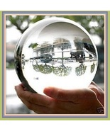 Rare Quartz Clear Crystal Orb  with Lacquered Wood Stand  - $306.00