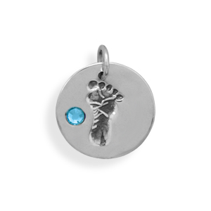 Silver Disc Charm with Footprint and Blue Crystal