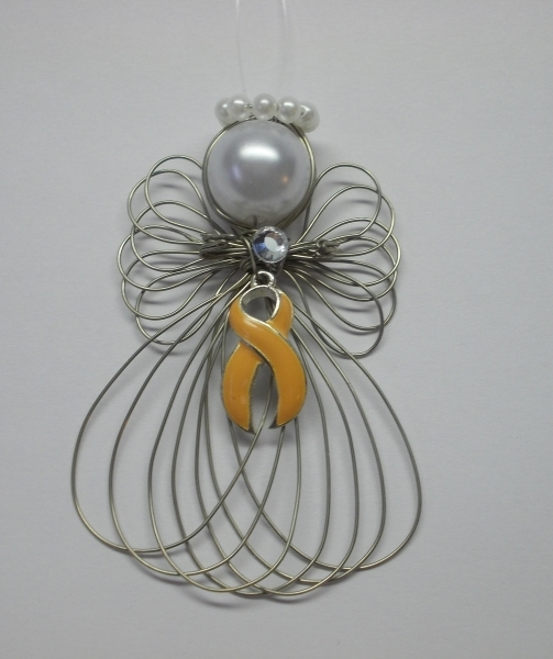 Uterine and Endometrial Cancer Awareness Angel Ornament Handmade