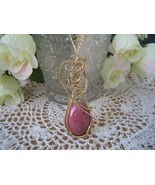 Rhodonite Pendant, 14K rolled gold wire - $49.00