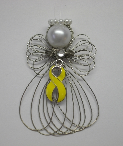 Bladder and Liver Cancer Awareness Yellow Ribbon Angel Ornament