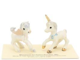 Hagen Renaker Miniature Fantasy Pegasus and Unicorn Babies Ceramic Figurine Set