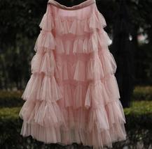 Pink Layered Tulle Midi Skirt High Waisted Layered Tulle Ruffle Skirt Custom image 4