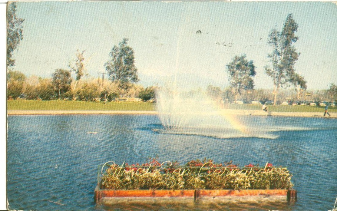 San Bernardino, California, lagoon, National Orange Show, 1956 used Postcard