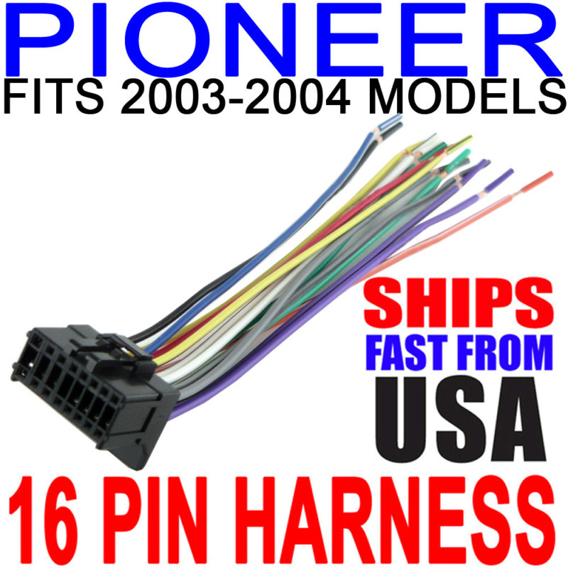 NEW 16 PIN PIONEER 2003-2004 CD PLAYER RECEIVER WIRING HARNESS RADIO POWER WIRES