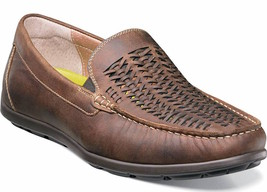 Mens Florsheim Draft Woven Moc Toe Slip On Shoes, Brown Leather [13311 215] - $80.95