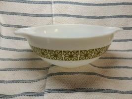 Vtg Pyrex Cinderella Autumn Floral Bowl 4 Qt Verde Green Square Flowers 444 Opal - $24.75