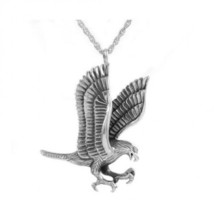 Small/Keepsake Silver Eagle Pendant Funeral Cremation Urn for Ashes - $84.99