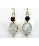 Tears of Blue Fire Moonstone and Red Garnet  Da... - $73.92