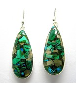 Oval Cabochon of Blue-Green Chrysocolla + Pyrite Dangle Sterling Silver ... - $79.68