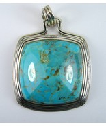 Cabochon Pyrmraid of Turquoise Sterling Silver Pendant 925 Comannding St... - $166.08