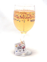 Congratulations Wine Candle Painted Glass Chardonnay - €10,22 EUR