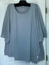 Pure J Jill women size 4X Asymmetric button Tunic top scoop neck Gray New - $35.64