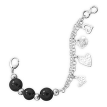 Double Strand Silver Chain Bracelet with Black Onyx Beads and Silver Charms - $149.95