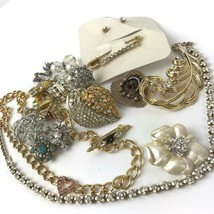 Vtg Rhinestone Jewelry lot Tammy Jewels ring pins brooches flowers borealis - $29.69