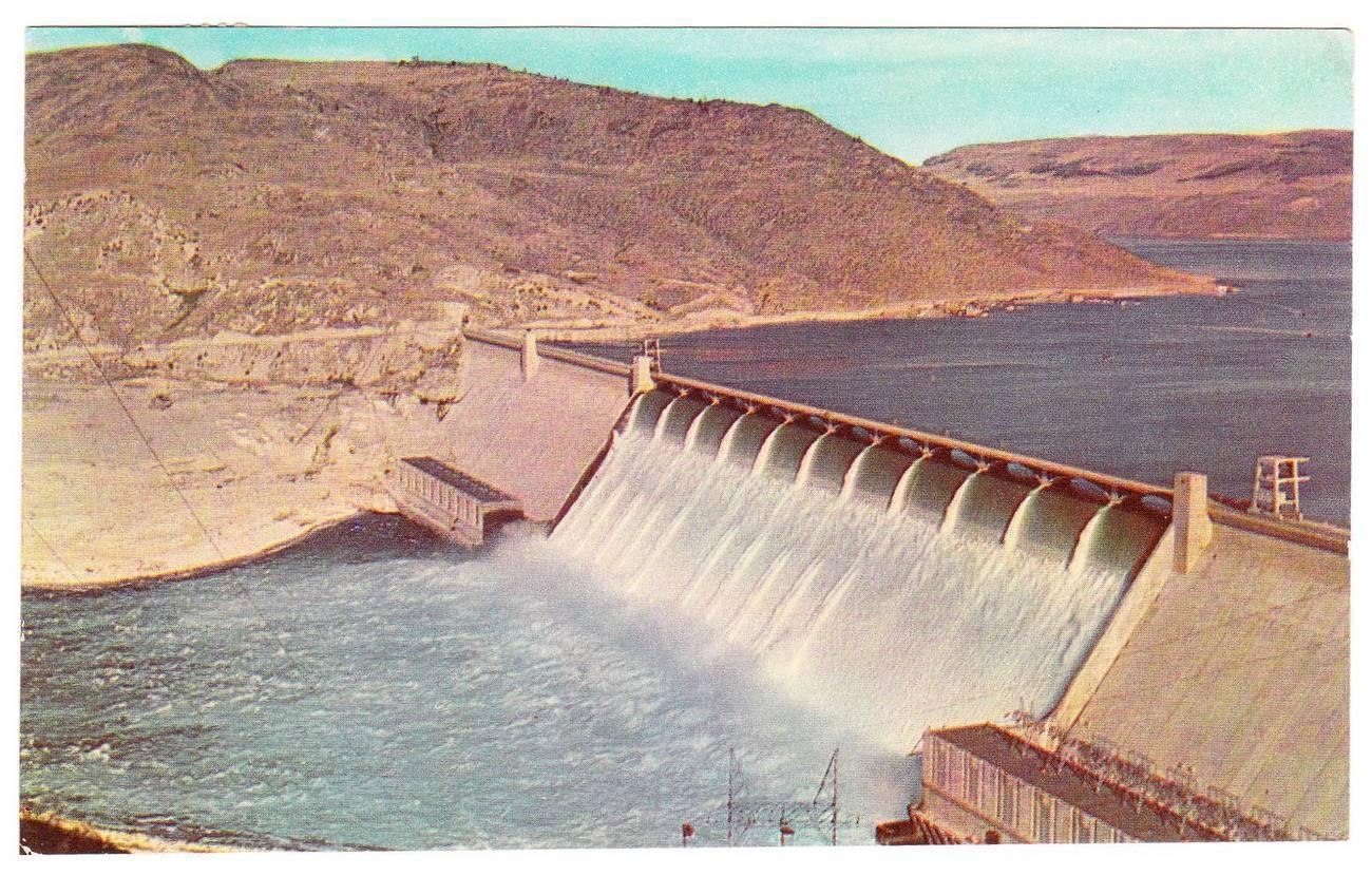 Postcard grand coulee dam washington