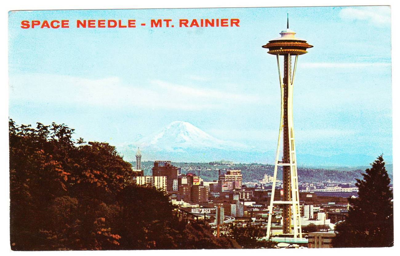 1971 postcard space needle mt rainier seattle washington