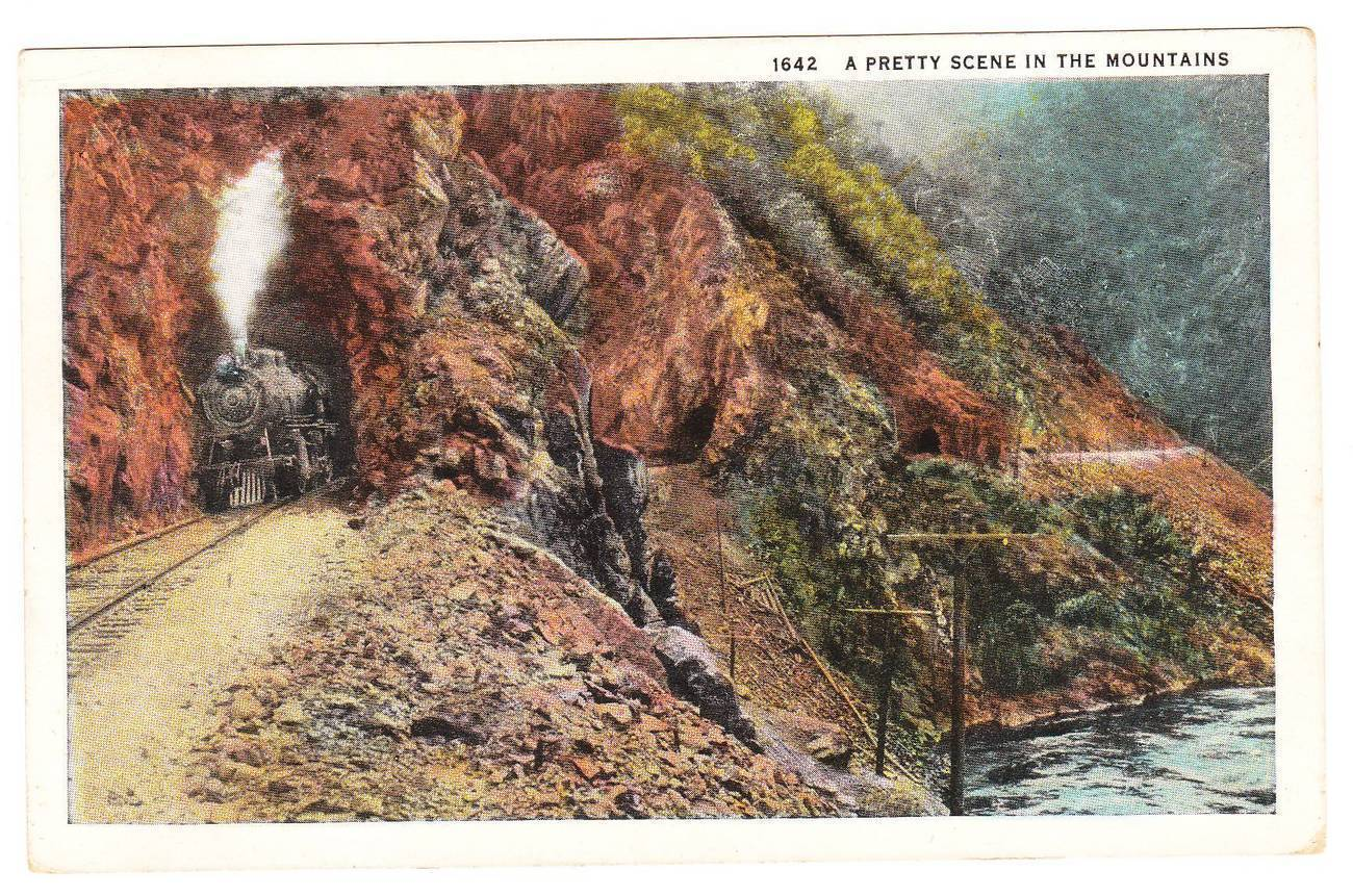 Postcard train mountains spokane washington