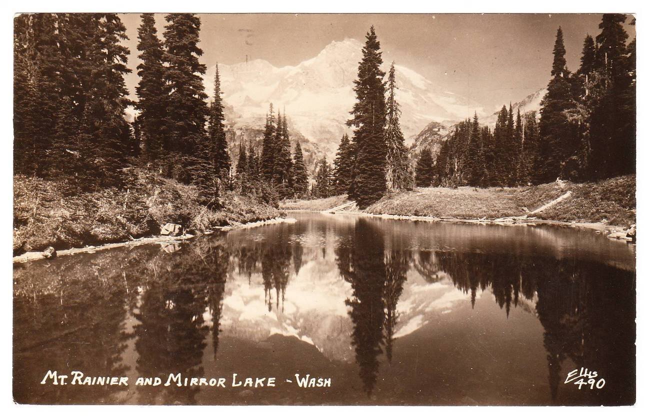 Rppc postcard mt rainier and mirror lake washington 1945
