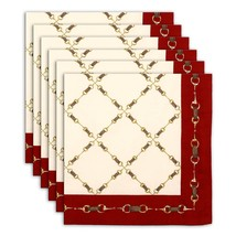 Napkin Set of 6 100% Cotton Link Designs Red Golden Washable Fast 20 Inches - $35.99