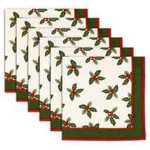 Napkin Set of 6 100% Cotton Mistletoe Washable Fast 20 Inches - $35.99