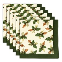 Napkin Set of 6 100% Cotton Leaf Pattern Washable Fast 20 Inches - $35.99