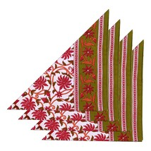 Napkins Set of 4 Linen Fabric Floral Indian Decorations Spring - $25.19