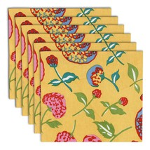 Napkin Set of 6 100% Cotton Floral Multicolor Washable Fast 20 Inches - $35.99