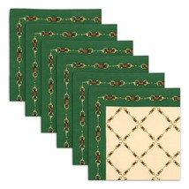 Napkin Set of 6 100% Cotton Link Design Washable Fast 20 Inches - $35.99