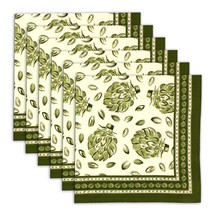 Napkin Set of 6 100% Cotton Leaf Designs Green Washable Fast 20 Inches - $35.99