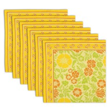 Floral Napkin Set of 6 100% Cotton Floral Multicolor Fast Washable 20 In... - $35.99