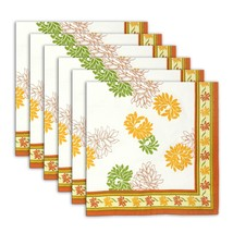 Napkin Set of 6 Cotton Bright Floral Designs Indian Washable Fast 20 Inches - $35.99