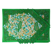 Green Placemats and Napkins Set of 6 Summer Decorations Indian Cotton - $68.39