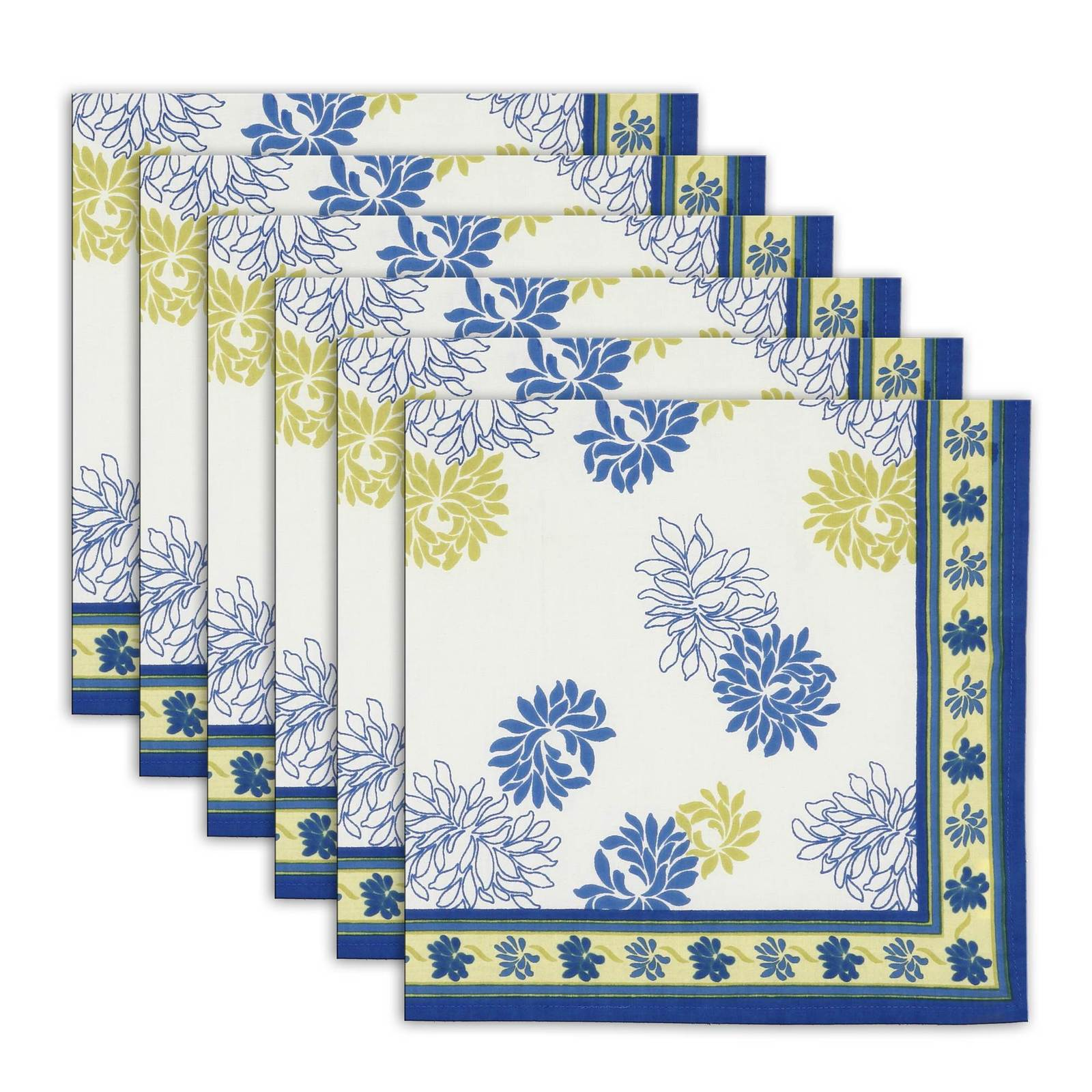 Napkin Set of 6 Cotton Floral Designs Indian Washable Fast 20 Inches