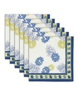 Napkin Set of 6 Cotton Floral Designs Indian Washable Fast 20 Inches - $35.99