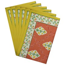Table Placemats Set of 6 Cotton Rectangular Spring Decor Floral - £27.06 GBP