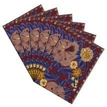 Colorful Fall Placemats Canvas Cotton Floral Art Deco Set Of 6 - £30.71 GBP