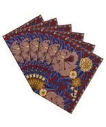 Colorful Fall Placemats Canvas Cotton Floral Art Deco Set Of 6 - $40.85