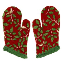 Mittens Kitchen Pair Cotton Red Floral Indian 13X6 Inches - $13.49